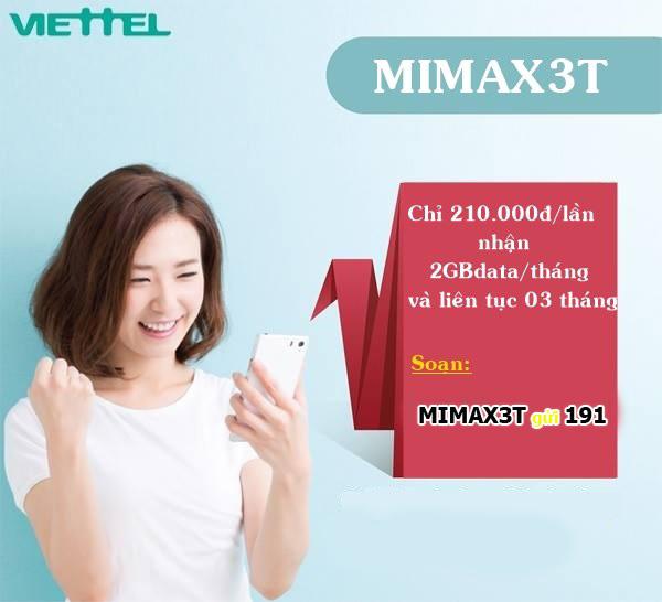 90 ngày sử dụng data tốc độ cao với gói cước Mimax3T Viettel
