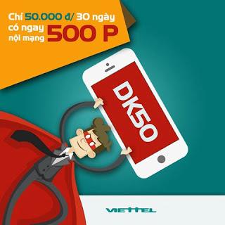Thông tin chi tiết chương trình khuyến mại gói DK50K Viettel