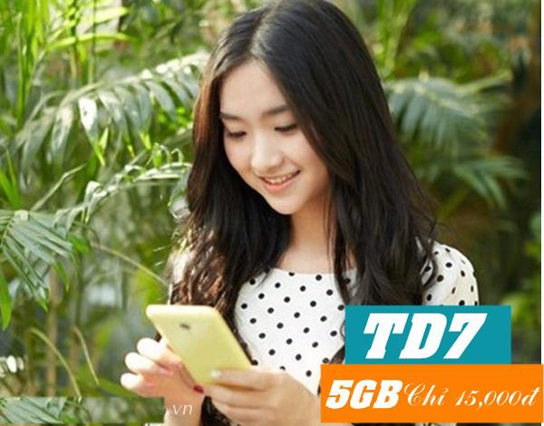 Chỉ 15k, đăng ký gói TD7 Viettel nhận ưu đãi 5GB data miễn phí