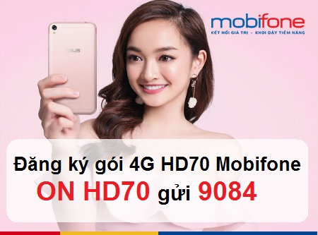 Đăng ký gói cước 4G HD70 Mobifone tặng data ưu đãi 2.4GB
