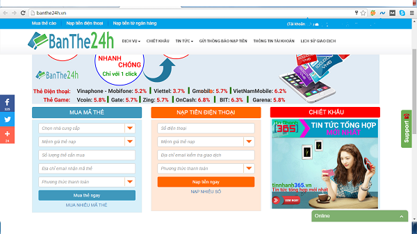 Hướng dẫn mua thẻ điện thoại qua thẻ ATM tại banthe24h.vn