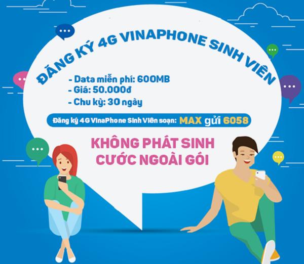 Đăng ký gói cước 4G sinh viên Vinaphone mới nhất
