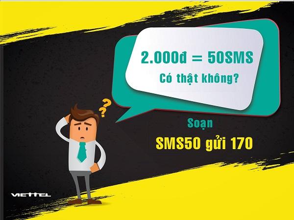 Hướng dẫn cách đăng kí gói SMS50 Viettel nhận ưu đãi khủng