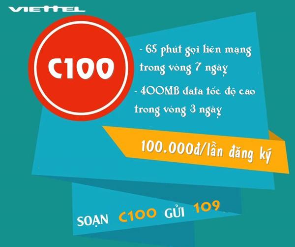 Đăng ký gói C100 viettel nhận ngay 400MB data