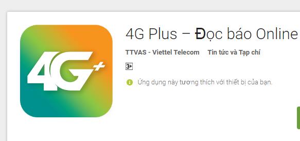 Miễn phí data đọc báo cùng ứng dụng 4G Plus Viettel