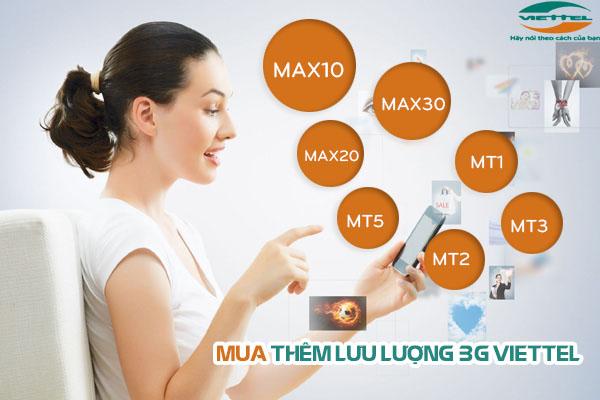 Đăng kí mua thêm dung lượng 3G viettel tốc độ cao