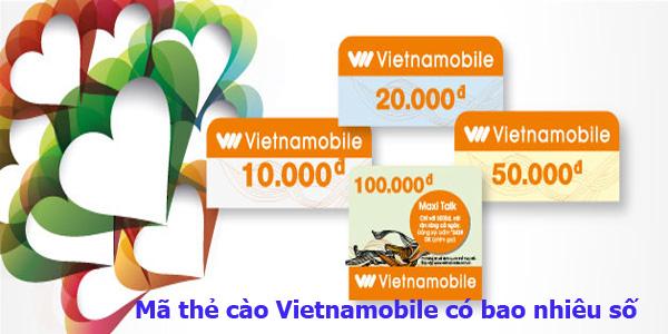 Mã thẻ cào Vietnamobile có bao nhiêu số?
