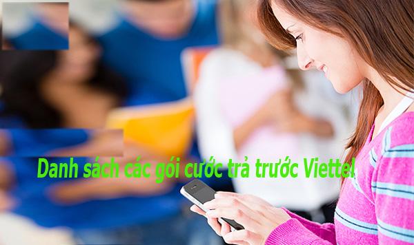 Danh sách các gói cước trả trước Viettel