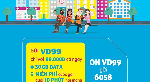 Đăng ký gói cước VD99 Plus Vinaphone nhận 60GB/tháng