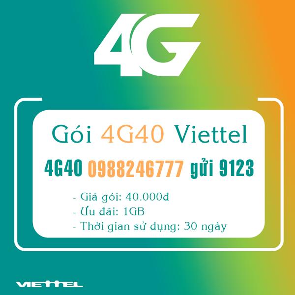 Ưu đãi lớn- 40.000đ có ngay 1GB data miễn phí với gói cước 4G40 Viettel