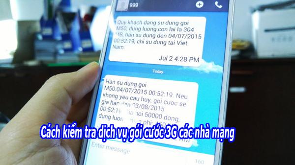 Hướng dẫn cách kiểm tra dịch vụ gói cước 3G các nhà mạng
