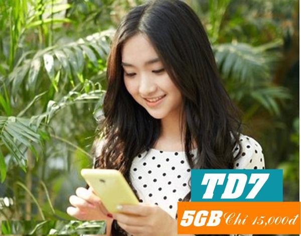 Đăng ký gói TD7 Viettel ưu đãi 5GB lướt web đêm khuya