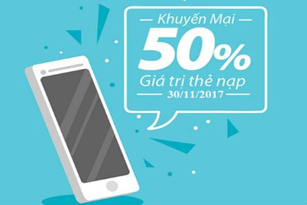 Khuyến mãi ngày Vàng Vinaphone tặng 50% giá trị thẻ nạp ngày 30/11/2017