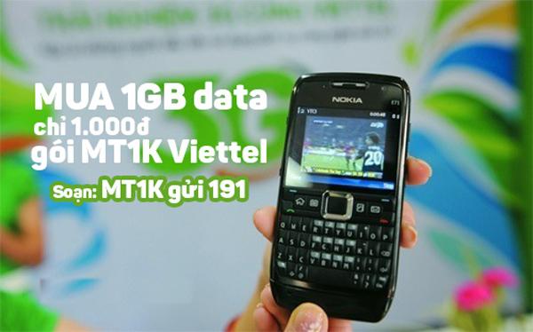 Đăng ký gói bổ sung MT1K Viettel ưu đãi 1GB chỉ 1k