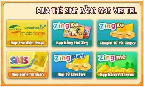 Bật mí cách mua thẻ Zing bằng sms viettel