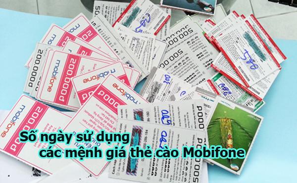 Chi tiết số ngày sử dụng của các mệnh giá thẻ cào Mobifone