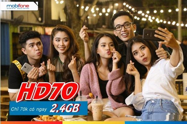 Hướng dẫn đăng kí gói 4G HD70 Mobifone  nhận ngay đến 2.4GB data ưu đãi mỗi tháng