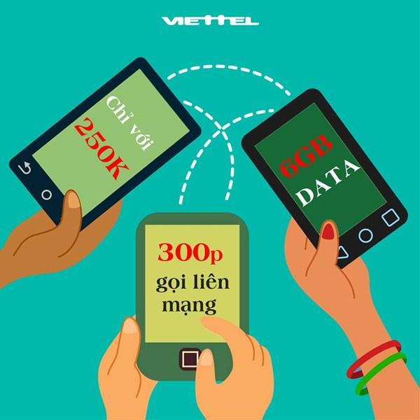 Ưu đãi gọi thoại và data cùng gói cước V250 Viettel