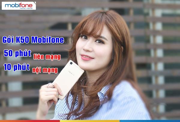Đăng ký gói K50 mobifone  nhận ngay tới 60 phút gọi thoại