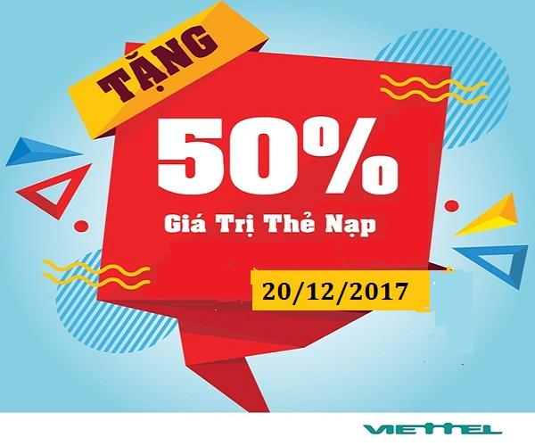 Chương trình khuyến mãi Viettel 50% giá trị thẻ nạp 20/12/2017