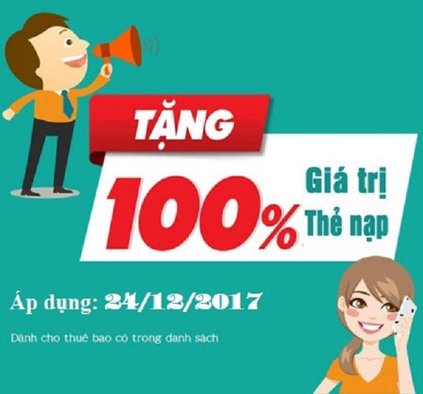 Viettel khuyến mãi 100% giá trị thẻ nạp ngày 24/12 và 31/12/2017