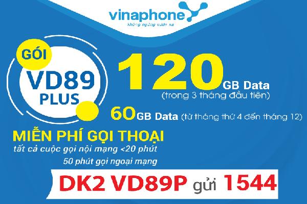 Đăng ký gói VD89P Vinaphone ưu đãi 120GB, gọi cả tháng