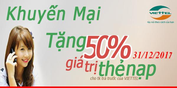 Viettel khuyến mãi 50%thẻ nạp ngày 31/12/2017 đón Tết Dương lịch