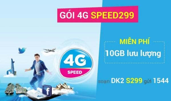 Nhận ngay ưu đãi 10GB data với gói cước SPEED299 Vinaphone