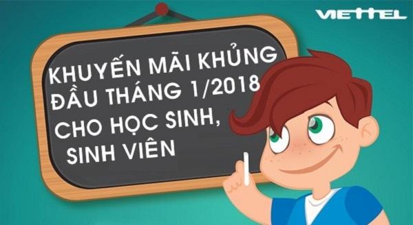 Từ 4/1 đến 9/1/2018 Viettel triển khai 3 chương trình khuyến mãi khủng cho sim sinh viên