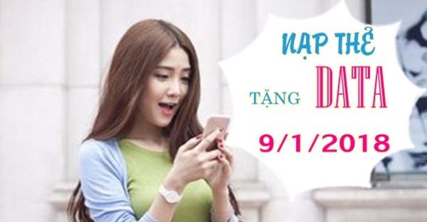 Vinaphone khuyến mãi nạp thẻ tặng data ngày 9/1/2018