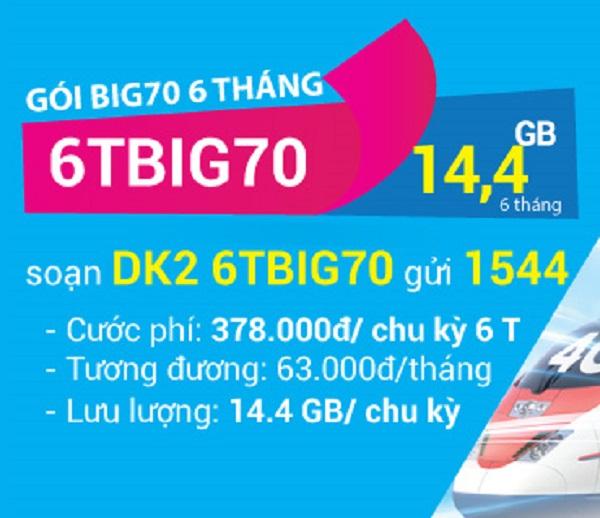 Đăng ký gói cước 6TBIG70 Vinaphone nhận 14,4GB dùng trong 6 tháng