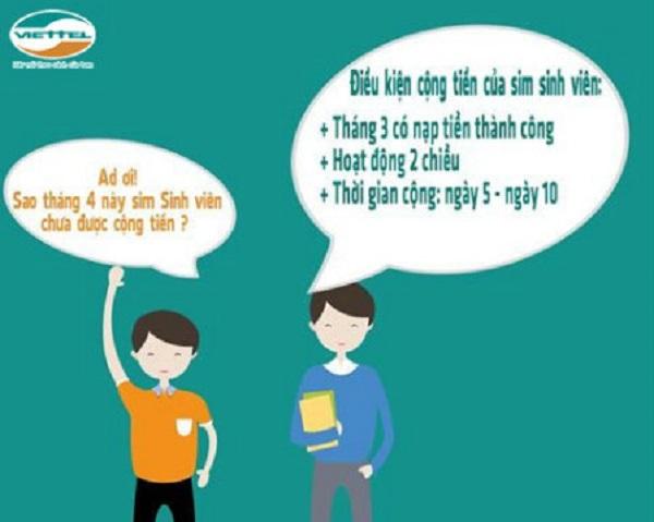 Chi tiết về thời gian cộng tiền hàng tháng của thuê bao sinh viên Viettel