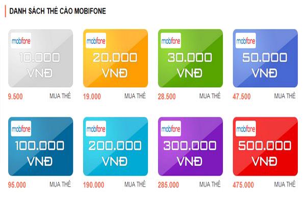 Thẻ cào Mobifone gồm có những mệnh giá nào?