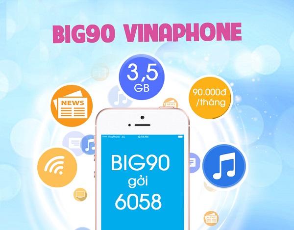Đăng ký gói BIG90 Vinaphone chi phí chỉ 90.000đ