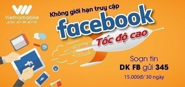 Lướt facebook không giới hạn với gói cước Facebook Vietnamobile