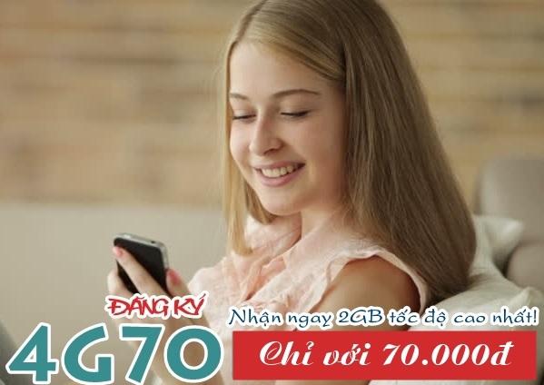 Ưu đãi 2GB data 4G khi tham gia gói cước 4G70 Viettel