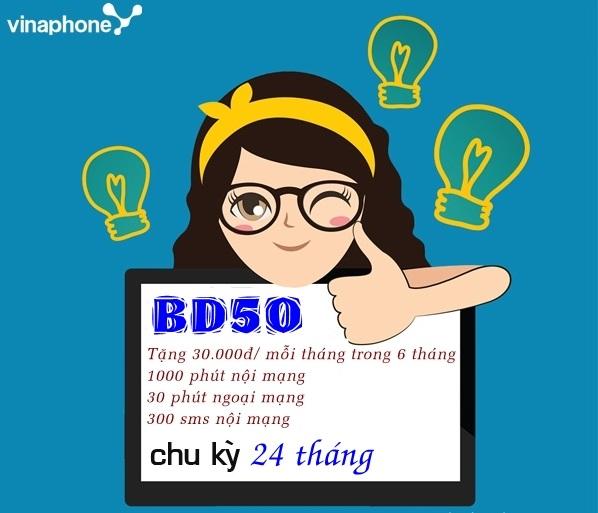 Ưu đãi sms, gọi thoại thả ga khi hòa mạng gói cước BD50 Vinaphone