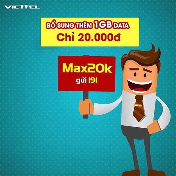Mua thêm 1GB data từ gói cước Max20k Viettel