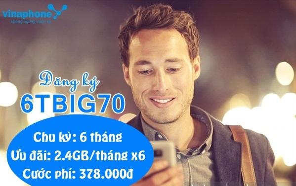 Tặng 14,4GB data sử dụng trong 6 tháng khi tham gia gói 6TBIG70 Vinaphone