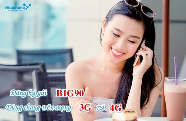 Hướng dẫn cách đăng ký gói 3G/4G dùng chung BIG90 Vinaphone