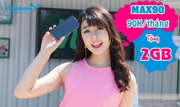 Tặng 2GB data 4G khi đăng ký gói cước MAX90 Vinaphone