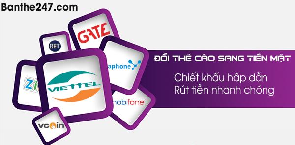 Hướng dẫn cách quy đổi thẻ cào sang tiền mặt tại banthe247.com