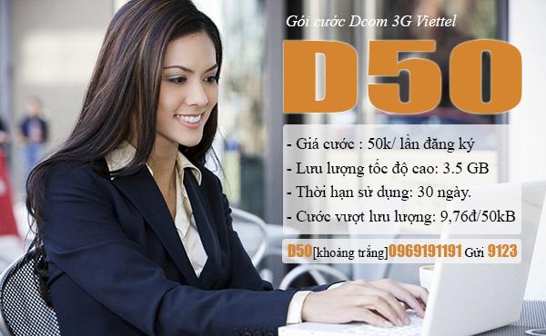 Đăng kí gói D50 của Viettel nhận ưu đãi cực khủng