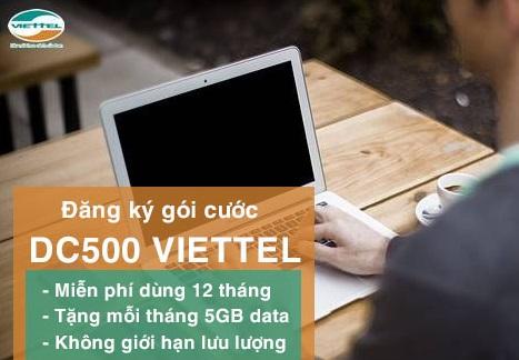 Đăng ký gói cước DC500 Viettel sử dụng 3G miễn phí trong 12 tháng