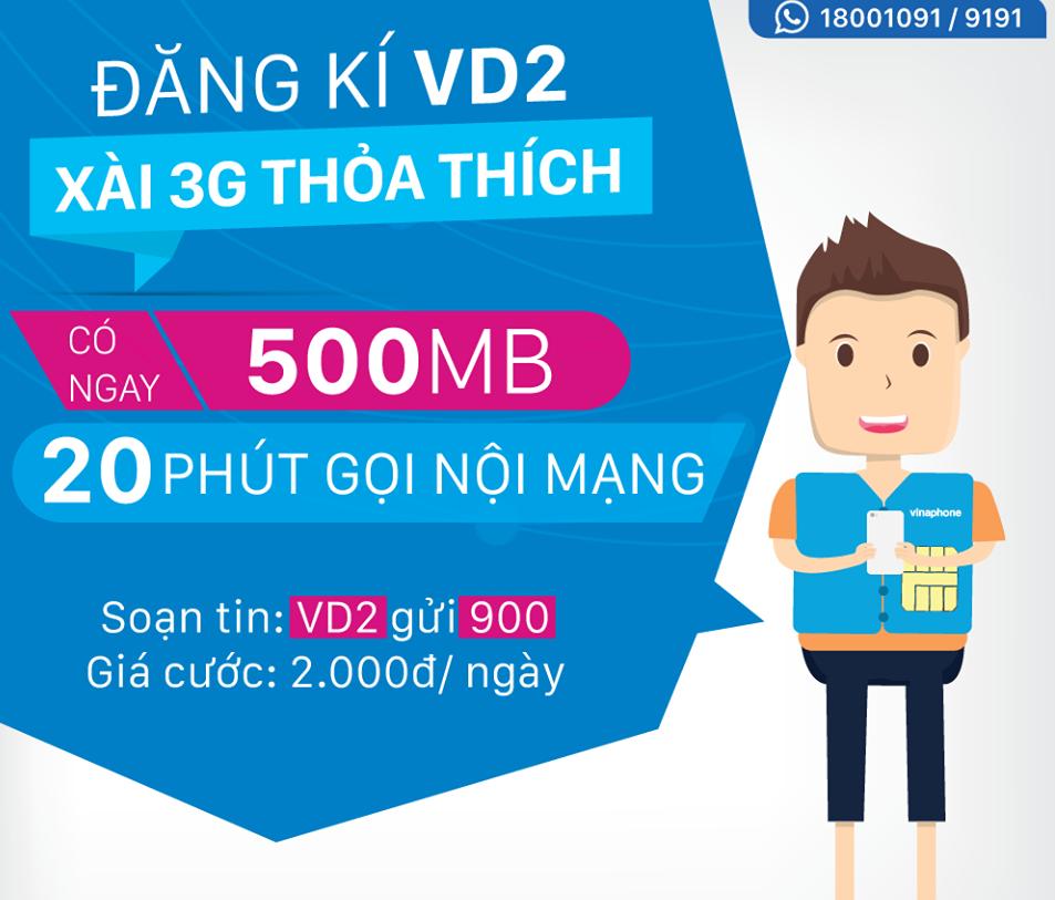 Đăng ký gói cước VD2 Vinaphone chỉ với 1 cú pháp tin nhắn