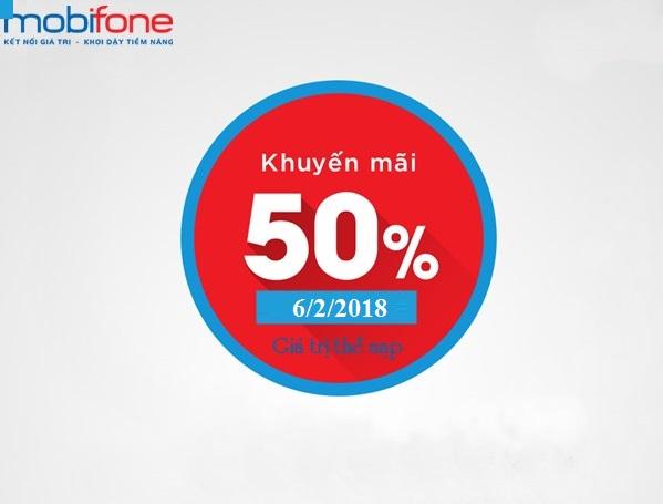 Chương trình Vinaphone khuyến mãi 50% giá trị thẻ nạp ngày 6/2/2018