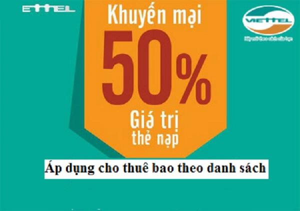 Chương trình Viettel khuyến mãi tặng 50% giá trị thẻ nạp theo danh sách