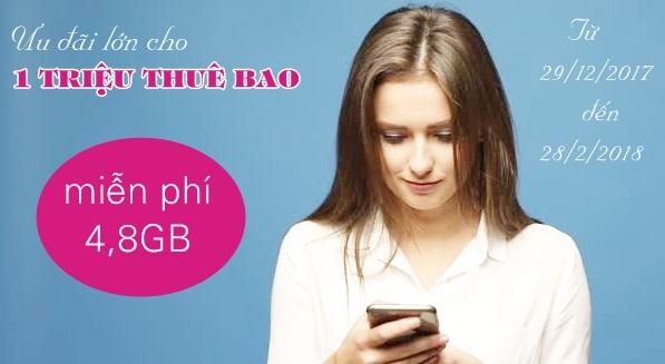 Vinaphone khuyến mãi 4.8Gb data 3G trong chương trình tri ân khách hàng