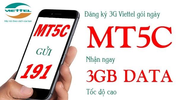 Tặng 3GB data tốc độc cao với giá 5.000đ từ gói MT5C Viettel