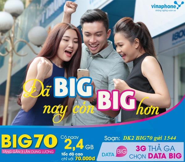 Hướng dẫn nhanh cách đăng kí gói BIG70 Vinaphone  nhận ngay ưu đãi lớn